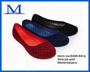 China 2014 women Sandals summer cheap ladies flat PVC flocking sandals ASM-8893 on sale