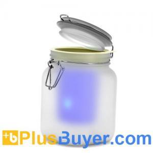 China Solar Powered Sun Jar - Waterproof Blue and Amber LED Mood Light on sale