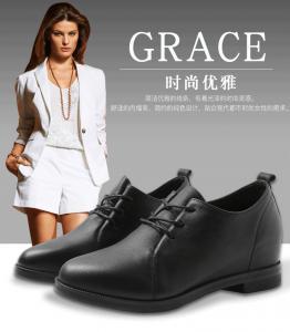 China womens designer shoes wholesale soft genuine leather black flat shoes 35-40 women shoe Internal increase 2cm on sale