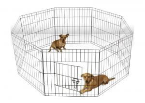 China 42 Stainless Steel Mesh Box Black Tall Dog Playpen Crate Fence Exercise Cage on sale