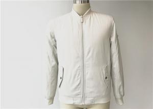 China Mens White Pu Leather Coat Polyester Bomber Jacket With Zip Pocket Tws8380 on sale