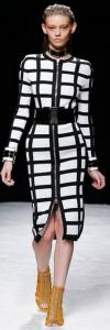 China Front Zipper White And Black Bandage Dress Breathable Knitted Technics on sale
