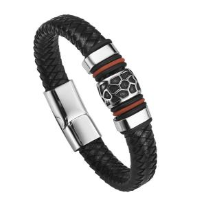 China Fashion Jewelry Black Men Leather Bracelet With Magnetic Clasp Wholesale on sale