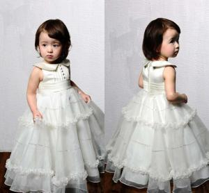 China Crew Neck Pleats Zipper Organza Unique Flower Girl Dresses , Ankle Length Ball Gown on sale