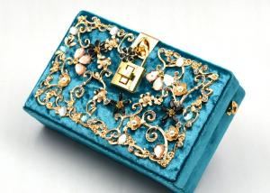 China Blue Printing Flannel Evening Clutch Bags With Small Bling Crystals Accessories on sale
