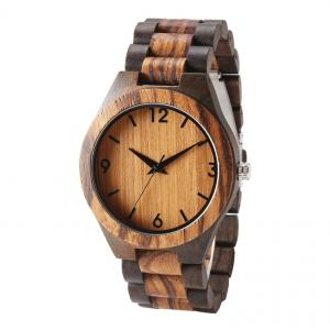 China unbranded handmade best seller quartz wood watch for customized engraving men black on sale