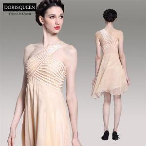 China One Shoulder Champagne Chiffon Empire Elegant Short Evening Dress 2014 New Arrival 6075 on sale