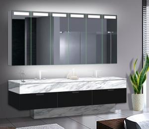 China Big Size LED Mirror Cabinet With Aluminum Body / Stainless Steel Optional on sale