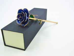China Navy Blue Pearl Lacquered Genuine Gold Dipped Rose , 24 kara gold dipped flowers on sale