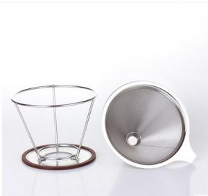 China stainless steel pour over cone dripper reusable coffee filter cup stand on sale