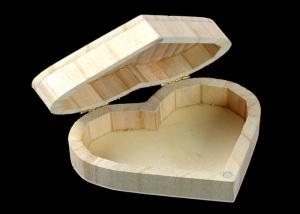 China Cover Top Heart Shaped Wooden Box , Wooden Crate Gift Box For Rings Wedding Gift on sale