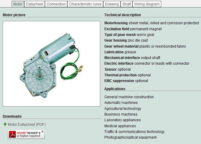 wiper motor datasheet
