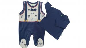 China Embroidered Kids Garments Knitted Baby Wear 2 Pcs 80% Cotton 20% Polyrster on sale