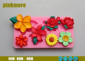 China Portable Rectangle Handmade Silicone Flower Molds For Fondant Cake Decorating on sale