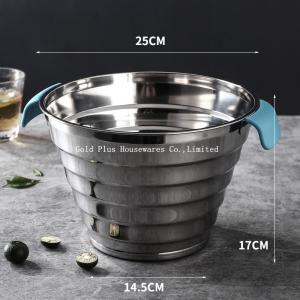 China 25cm Iron Stainless Steel Water Bucket With Two Plastic Handle on sale