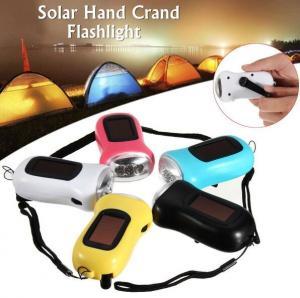 China 3.6V Solar Powered Hand Crank Flashlight 3 LED Torch Dynamo Emergency Camping Light on sale