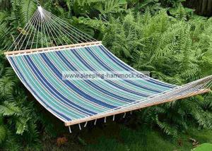 China 13 Ft Foldable  Sleeping Double Fabric Hammock With Spreader Bar Green Blue Strip on sale