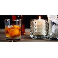 Round Decoration Glass Candlestick Holders / Clear Glass Candle Holders