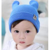 Fall and winter new men and women baby flanging hat solid double antlers dog cloth standard warm knit hat