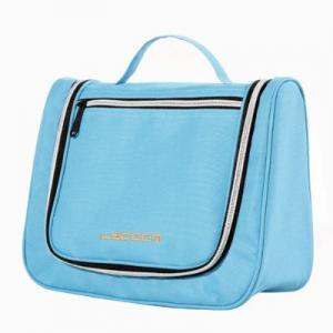 China Sky Blue Canvas Ladies Makeup Case Women Toiletries Bag on sale