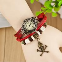Skull Pendants Vintage Leather Quartz Watch Antique Water-resistance