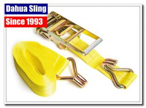 Quality Double J Hooks Roof Ratchet Tie Down Straps , 3 Inch Ratchet Straps USA Standards for sale
