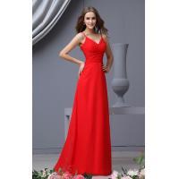 Young Girls Spaghetti Straps A Line Chiffon Multi Colored Bridesmaid Dresses , Red