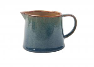 China Lovely Little Ceramic Milk Pot Organic Shaped With Blue Reactive Color on sale