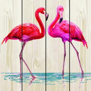 China Flamingo Pattern Wood Products Home Sweet Wood Sign Home Decor Square Barnwood Wood Wall Art on sale