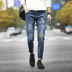 China Urban Style Wax Coated Mens Black Tapered Jeans , Printed Skinny Denim Biker Jeans on sale