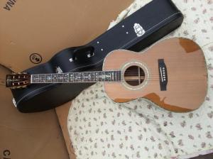China cedar top 00045 model acoustic guitar red pine 100% all real abalone acoustic electric guitar supplier