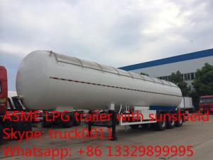 China tanktrailer do gás da venda direta 56,000L lpg da fábrica, reboque de alta qualidade do gás do propano 23.5ton com tampa do aluninum para a venda on sale