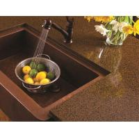 China Artificial Quartz Slab Countertops Coffee Brown Color Kitchen Island Stone on sale