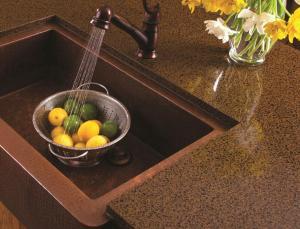 China Artificial Quartz Slab Countertops Coffee Brown Color Kitchen Island Stone on sale