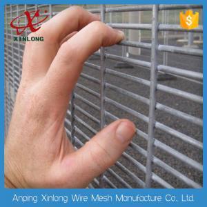 China Dark Green 358 Welded Wire Mesh Panels , Iron Wire Garden Fencing on sale