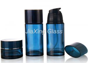 China Personalized Blue Glass Cosmetic Jars And Bottles 50g For Cosmetic Sets on sale