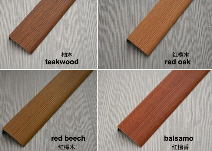 10mm x 20mm wood grain aluminium right angle trim