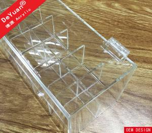 Crystal Knob Clear Acrylic Lipstick Holder Box With Hinged Lid For