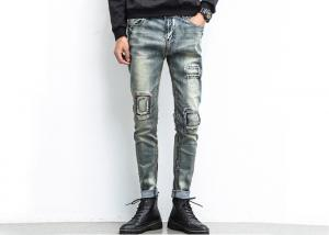 China Grey Skinny Men'S Denim Jeans Button Pockets Customised Logo Anti Shrink on sale