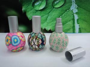 China bottle perfume 15ml  recycled Fimo bottleswith  ball shape cap Glass Refill Empty Perfume Aluminium Atomizer Spray Bottl on sale