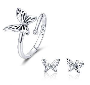 China Fashionable Girls Jewelry 925 Sterling Silver Butterfly Ring Earrings Set 925 Silver Jewelry Set on sale