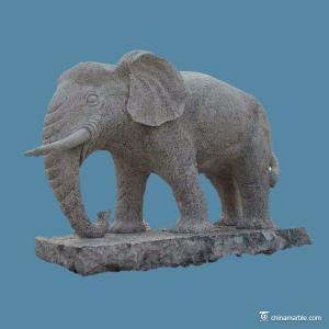 China Outdoor Granite Stone Animal Sculptures Elephant For Landscape Garden Decoration on sale