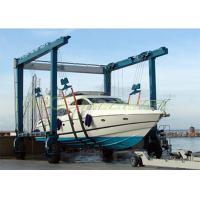 Heavy Yacht Mobile Harbour Crane , Blue Color Seaport Crane Steel Structure