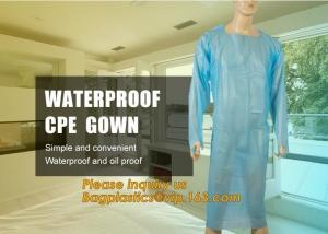 China Disposable CPE plastic gown/Plastic coat Elastic cuff/Thumb Cuff,disposable hospital CPE isolation gown /protection gown on sale