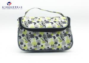 China Toiletries Product Fabric Makeup Bag Black With Oxford Cloth Lining Materials on sale