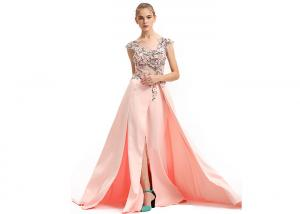 China Peach Color Muslim Wedding Bridesmaid Dress Split Ball Gown Tapestry Fabric Type on sale