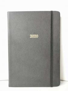 China Black PU Leather Cover Embossing Custom Printed Notebooks 14.9*21.1cm Size on sale