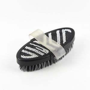 China Zebra Pattern Crystal Bling Horse Grooming Products , Horse Cleaning Brush on sale