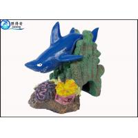 Blue Little Shark Personalised Large Fish Tank Ornaments Decorations with Polyresin
