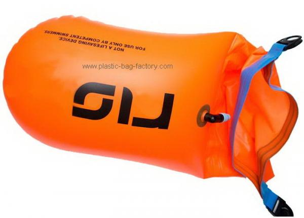 Bright Orange Dry Bag Inflatable Safer Swimmer Buoy For Open Water Swimming